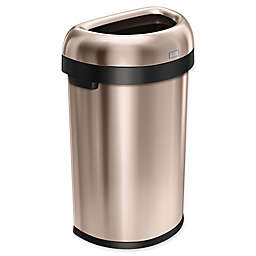 simplehuman® Brushed Stainless Steel Semi-Round 60-Liter Open Trash Can