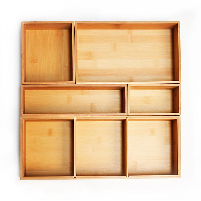 Seville Classics 5 Piece Bamboo Storage Box Drawer