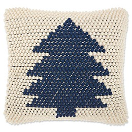 Mina Victory Hook Knit Tree Square Throw Pillow