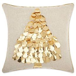 Mina Victory Metallic Christmas Tree Square Throw Pillow