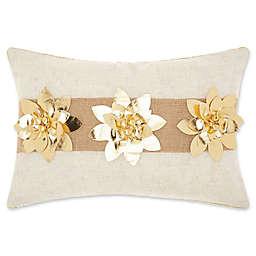 Mina Victory Burlap Metallic Floral Oblong Throw Pillow