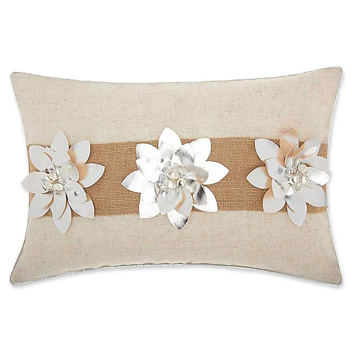Alternate image 1 for Mina Victory Burlap Metallic Floral Oblong Throw Pillow in Silver
