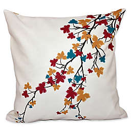 Maple Hues Flower Print Square Throw Pillow