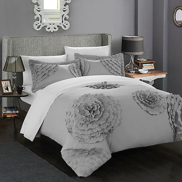 Alternate image 1 for Chic Home Lauretta Queen Duvet Cover Set in Silver