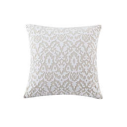 Kensie Josephine Laser Cut Square Throw Pillow Cover in White/Linen