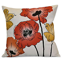 Poppies Floral Print Square Throw Pillow