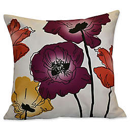 Poppies Floral Print Square Throw Pillow in Purple