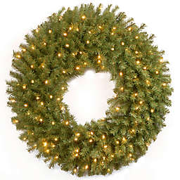 National Tree Company 30-Inch Pre-Lit Norwood Fir Wreath with Battery Operated Warm White LED Lights