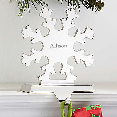 Engraved Snowflake Nickel-Plate Stocking Holder