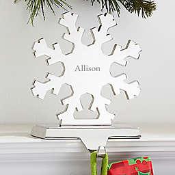 Engraved Snowflake Nickel-Plate Stocking Holder
