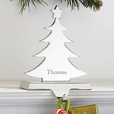 Engraved Tree Nickel-Plate Stocking Holder