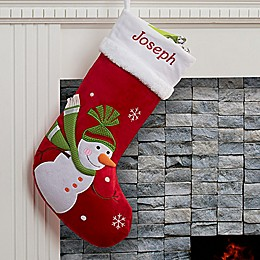 Santa Claus Lane Snowman Christmas Stocking