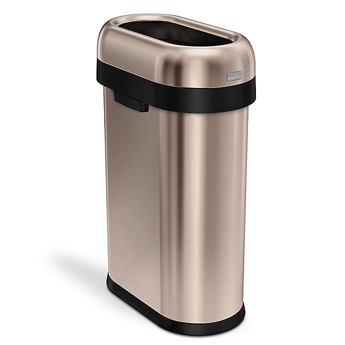 Alternate image 1 for simplehuman® 50-Liter Slim Open Trash Can in Rose Gold