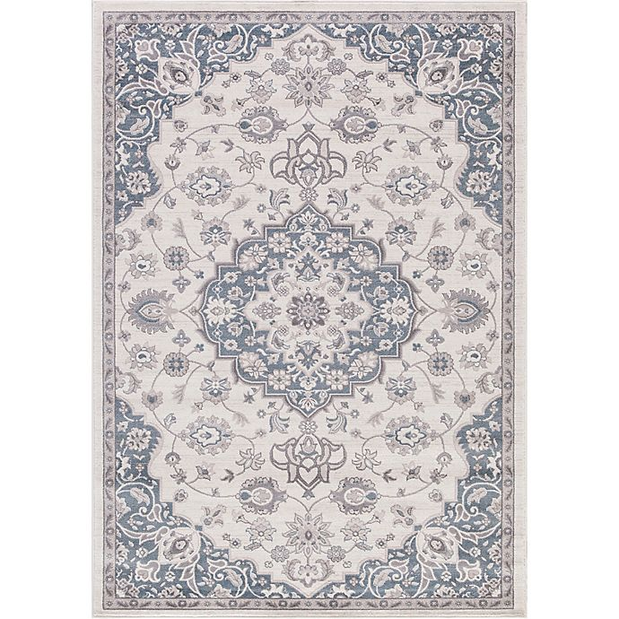 Alternate image 1 for Lara Center Medallion 6-Foot 7-Inch x 9-Foot 3-Inch Area Rug in Ivory/Blue