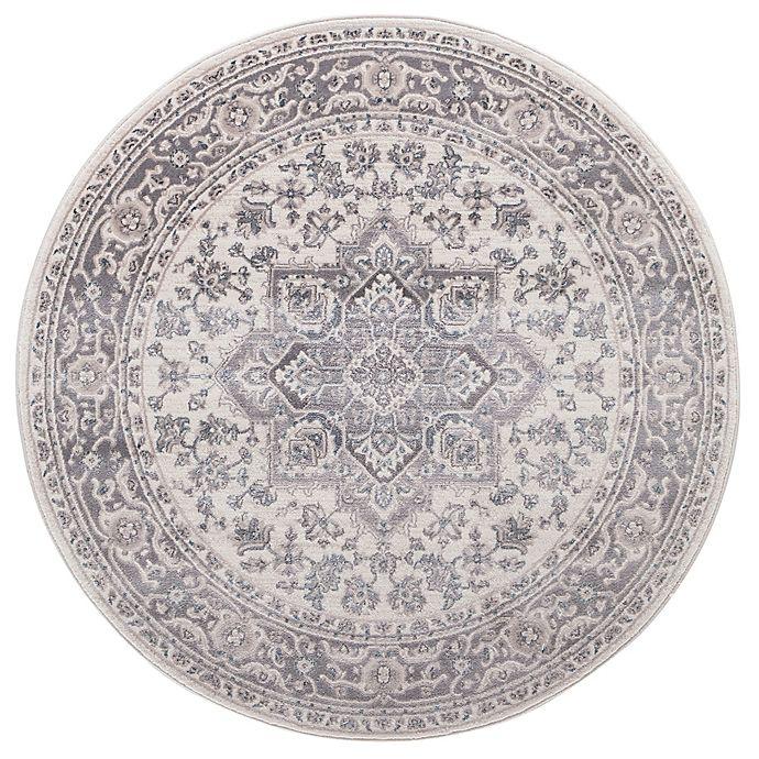 Alternate image 1 for Lara Heriz 5-Foot 3-Inch Round Rug in Ivory/Grey