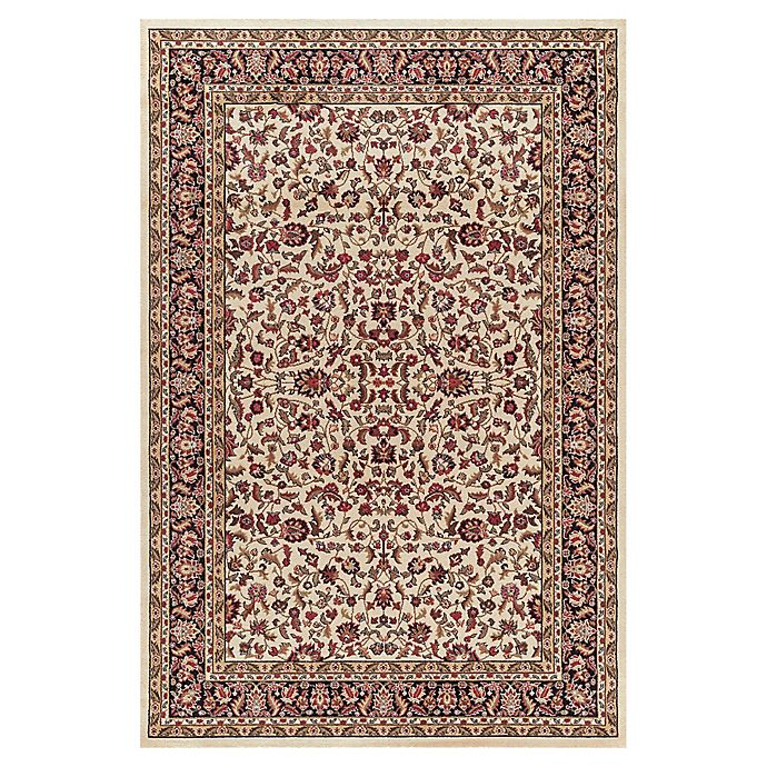 Alternate image 1 for Jewel Kashan 6-Foot 7-Inch x 9-Foot 3-Inch Area Rug in Ivory/ Black