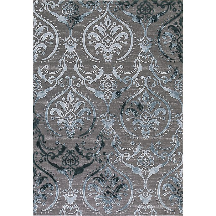 Thema Large Damask Rug In Teal Grey Bed Bath Amp Beyond