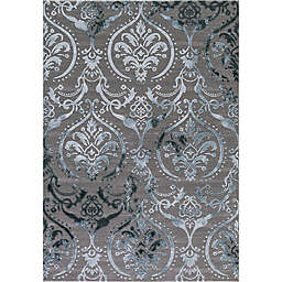 Thema Large Damask Rug in Teal/Grey