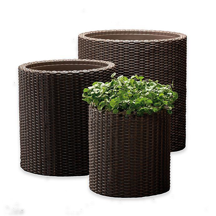 Alternate image 1 for Keter® Round 3-Piece Indoor/Outdoor Planter Set in Brown
