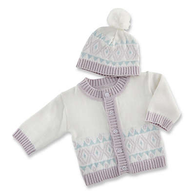 Baby Aspen® Size 0-6M 2-Piece Fair Isle Cardigan and Hat Set in White