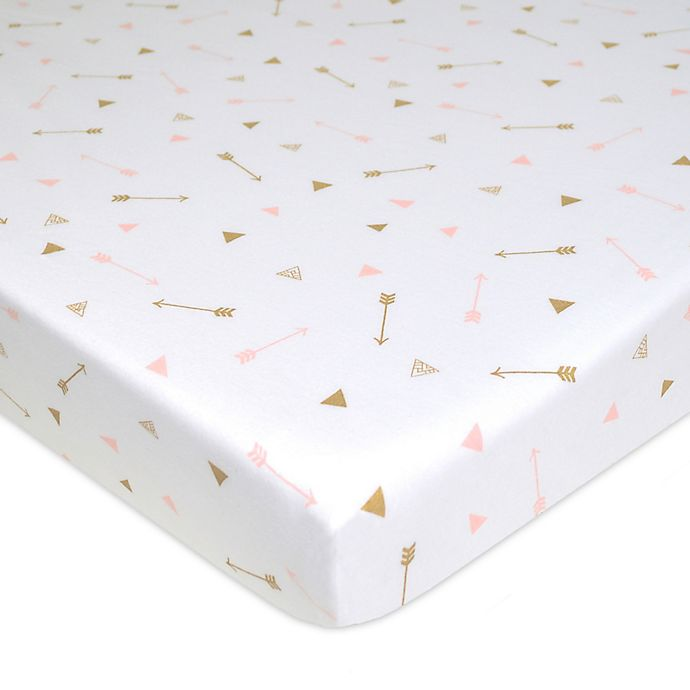 Alternate image 1 for TL Care Arrow Print Jersey Knit Fitted Playard Sheet in Gold/Pink
