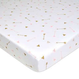 TL Care Arrow Print Jersey Knit Fitted Playard Sheet in Gold/Pink