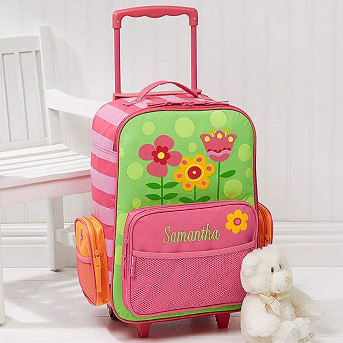 Alternate image 1 for Stephen Joseph® Pretty Flowers Embroidered Rolling Luggage