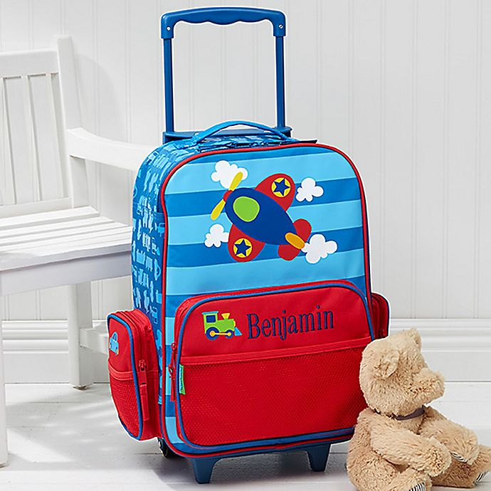 Alternate image 1 for Stephen Joseph® Airplane Embroidered Rolling Luggage