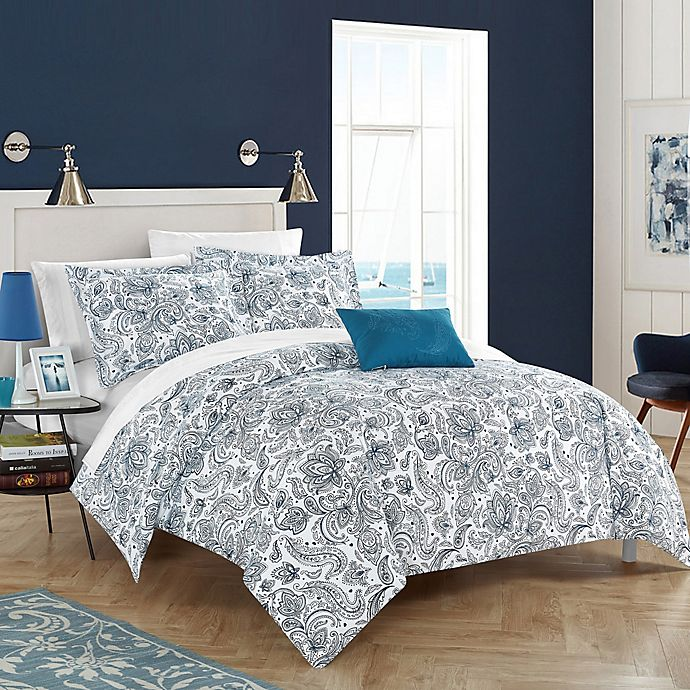 Alternate image 1 for Chic Home Orleans Park Queen Duvet Cover Set in Blue