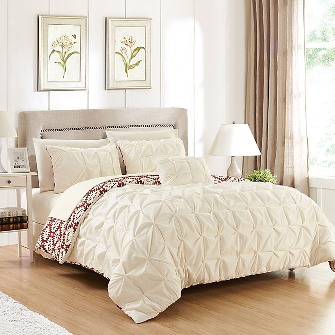 Alternate image 1 for Chic Home 8-Piece Reversible King Duvet Cover Set in Beige