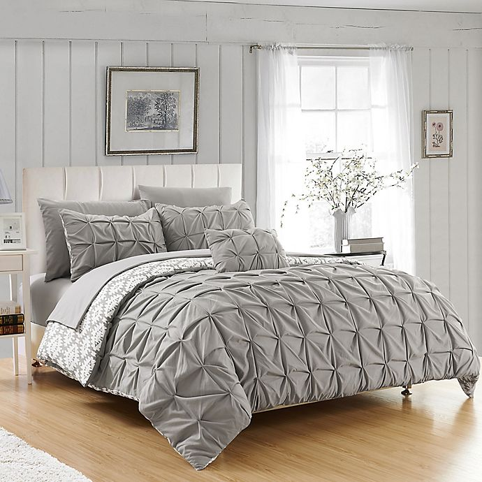 Alternate image 1 for Chic Home 3-Piece Reversible Twin Duvet Cover Set in Grey