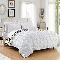 Chic Home 8-Piece Reversible Queen Duvet Cover Set in White