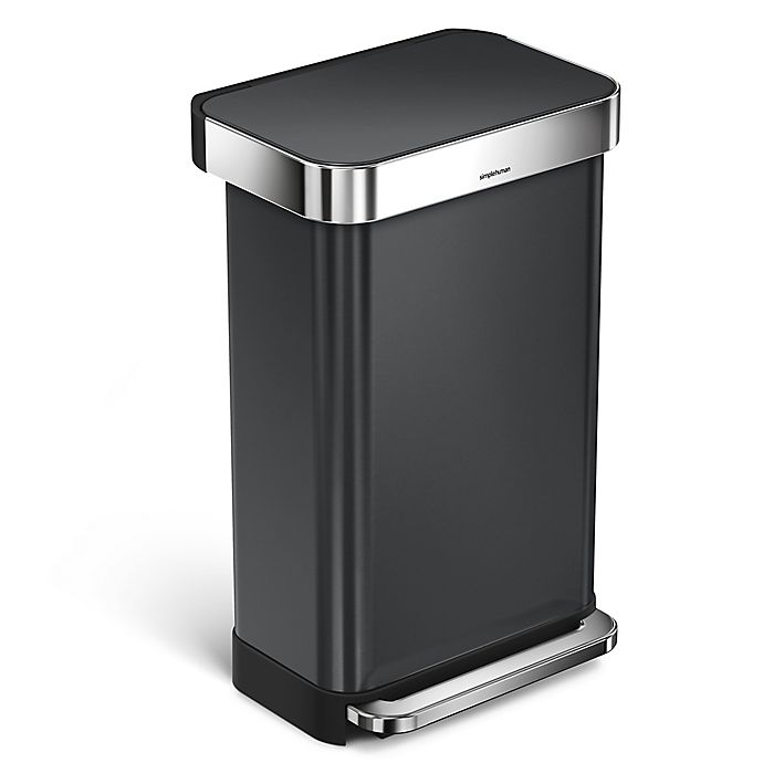 Alternate image 1 for simplehuman® 45-Liter Rectangular Step Trash Can with Liner Pocket in Black