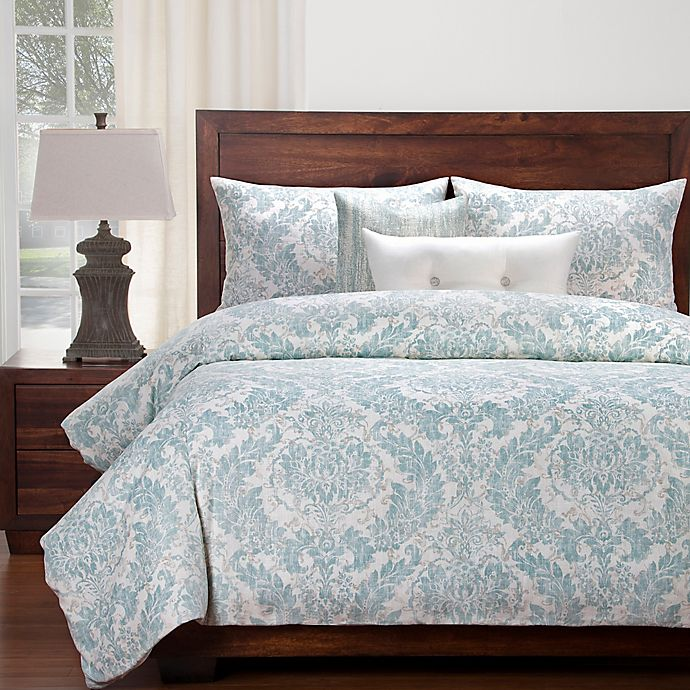 buy siscovers modern farmhouse parlour california king duvet cover set in blue off white from. Black Bedroom Furniture Sets. Home Design Ideas