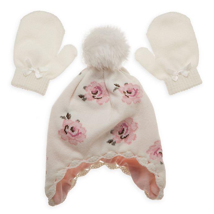 Alternate image 1 for Little Me® Newborn Vintage Rose Hat and Mitten Set in Ivory