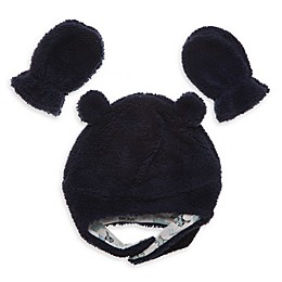 Little Me® 2-Piece Boa Pilot Hat and Mitten Set in Navy