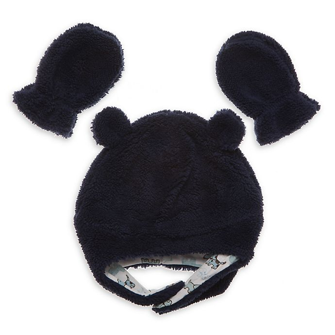 Alternate image 1 for Little Me® 2-Piece Boa Pilot Hat and Mitten Set in Navy