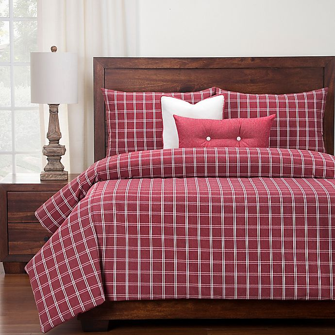 Alternate image 1 for SIScovers® Tartan Brick Full Duvet Cover Set in Red/White