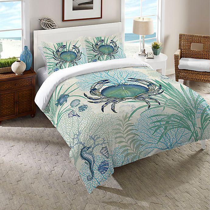 Alternate image 1 for Laural Home® Blue Crab Duvet Cover in Blue/Multi