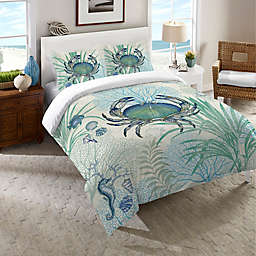 Laural Home® Blue Crab Queen Duvet Cover in Blue/Multi