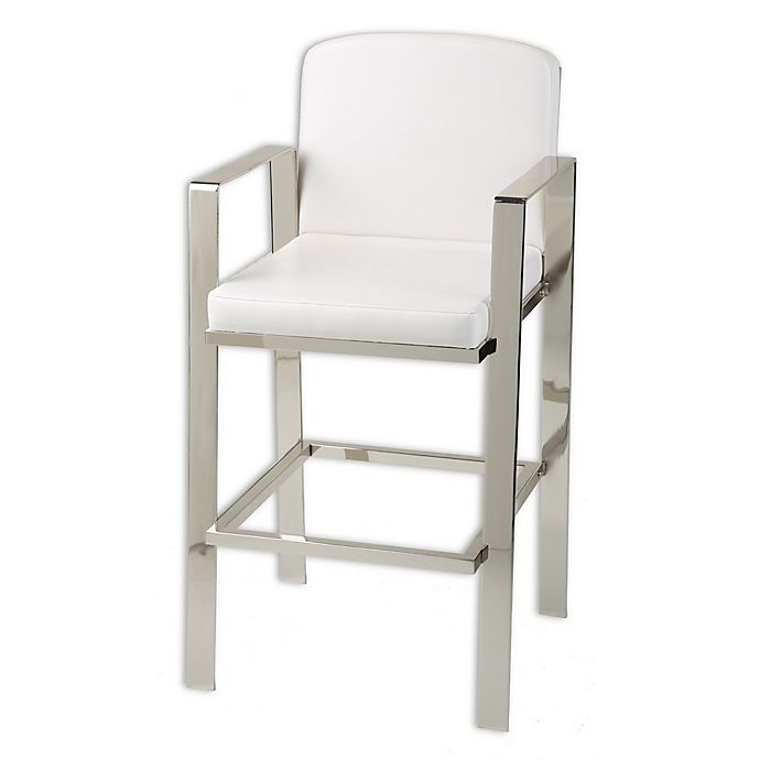 Incredible Fashion Bed Group Juneau 30 Inch Bar Stool In Nickel White Andrewgaddart Wooden Chair Designs For Living Room Andrewgaddartcom