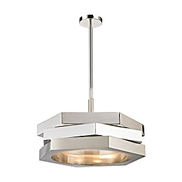 Dimond Lighting Facet 3-Light Pendant in Polished Nickel