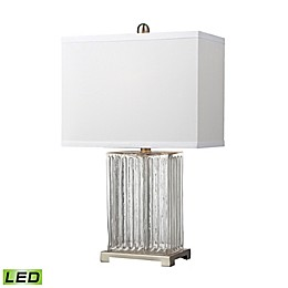 Dimond Lighting Ribbed Clear Glass LED Table Lamp in Brushed Steel