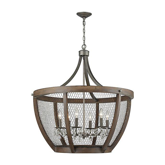 Alternate image 1 for Dimond Lighting Renaissance Invention 6-Light Wide Basket Pendant in Zinc