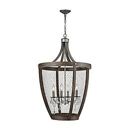 Dimond Lighting Renaissance Invention Long Basket 4-Light Pendant Light in Weathered Zinc
