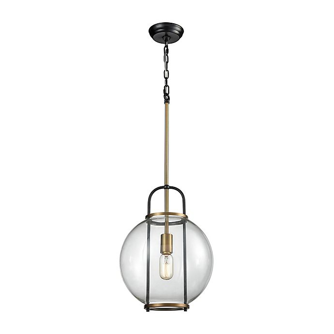 Alternate image 1 for Dimond Lighting Faraday 1-Light Pendant in Brass with Glass Shade