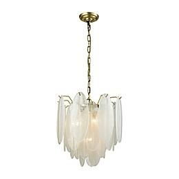 Dimond Lighting Hush 4-Light Pendant in White/Brass