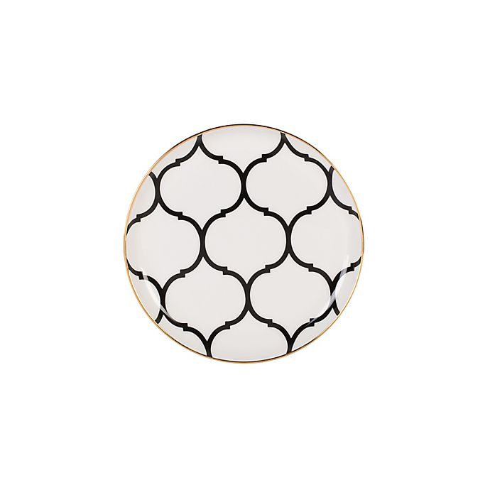 Alternate image 1 for Nevaeh White® by Fitz and Floyd® Lattice Appetizer Plate in Black/Gold