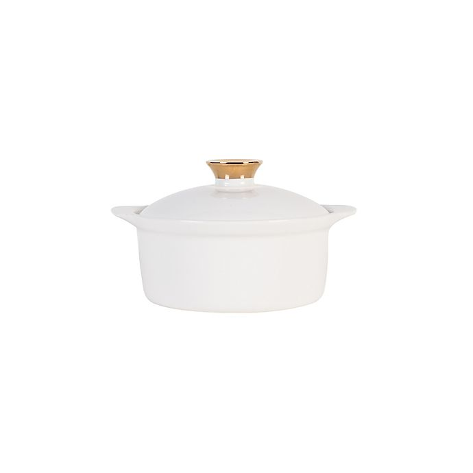Alternate image 1 for Nevaeh White® by Fitz and Floyd® Grand Rim Gold Lidded Soup Bowl