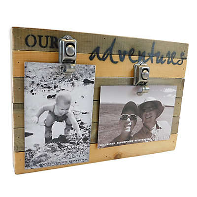 "Sweet Bird & Co. ""Our Adventures"" 2-Photo Collage Reclaimed Wood Clip Picture Frame"